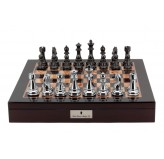 "Dal Rossi Italy Chess Box  Mahogany Finish 20"" with compartments Silver & Titanium 101mm pieces"