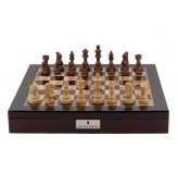 "Dal Rossi Italy Chess Box Mahogany Finish 20"" with compartments with Staunton Wooden 95mm Chess pieces"