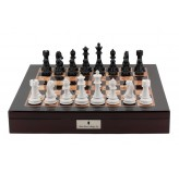 "Dal Rossi Italy Chess Box Mahogany Finish 20"" with compartments with Black and White 101mm Chess pieces"