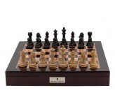 "Dal Rossi Italy Chess Box Mahogany Finish 20"" with compartments with Dark Cherry and Box Wood Finish 101mm Chess pieces"
