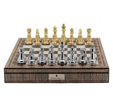 "Dal Rossi Italy Chess Box Mosaic  Finish 20"" with compartments with Gold and Silver Finish 101mm Chess pieces"