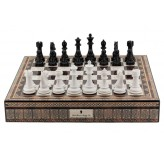 "Dal Rossi Italy Chess Box Mosaic  Finish 20"" with compartments with Black & White Finish 101mm Chess pieces"