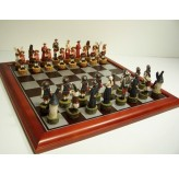 Hand Paint Chess Set - Don Quixote Theme with 75mm pieces, 45cm With Board
