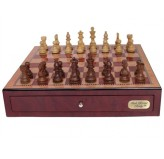 "Dal Rossi Italy, Chess Box with drawers 18"" (Red Mahongany Finish) with 85mm Wooden Double Weighted Sheesham Pieces"