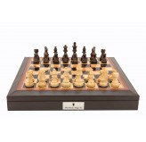 "Dal Rossi 16"" Chess Set Walnut Finish Chess Set with PU Leather Edge with compartments and Boxwood and Sheesham  85mm Chess Pieces"