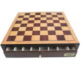"Dal Rossi Italy, Chess Box ONLY with Drawers 18"" Shinny Walnut"