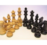 Chess Pieces - French lardy, Boxwood/black ebony, 85mm Wood Double Weighted