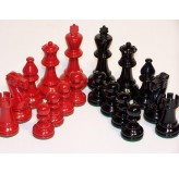 Chess Pieces - Classic Jaques Boxwood,red & black, 85mm Wood Double Weighted