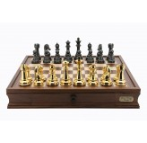 Dal Rossi Italy Gold & Black Titanium Chess Set 20""