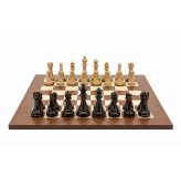Dal Rossi Italy Chess Set, 50cm Board With Dark Red and Box Wood Finish Weighted Chess Pieces (101mm)