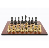 Dal Rossi Italy Gold & Titanium Chess Pieces on Walnut Shiny Finish Chess Board 20""