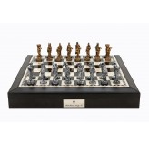 "Dal Rossi Italy Black PU Leather Bevilled Edge chess box with compartments 18"" with Medieval Pewter Chessmen"