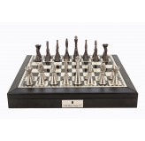 "Dal Rossi Italy Black PU Leather Bevilled Edge chess box with compartments 18"" with Staunton Metal Chessmen"