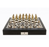 "Dal Rossi Italy Black PU Leather Bevilled Edge chess box with compartments 18"" with Medieval Warriors Resin Chessmen"