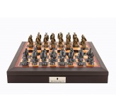 "Dal Rossi Italy Brown PU Leather Bevilled Edge chess box with compartments 18"" with Dragon Pewter Chessmen"