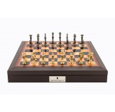 "Dal Rossi Italy Brown PU Leather Bevilled Edge chess box with compartments 18"" with Sleek Design Brass Chessmen"