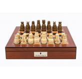 "Dal Rossi Italy Walnut Finish chess box with lock & compartments 16"" with Medieval Resin Chessmen"