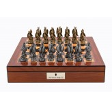 "Dal Rossi Italy Walnut Finish chess box with lock & compartments 16"" with Dragon Pewter Chessmen"