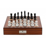 "Dal Rossi Chess Set With Diamond-Cut Black & White 85mm Chessmen on Walnut Finish Chess Box 16"" with compartments"