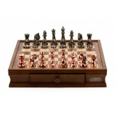 "Dal Rossi Italy Chess Set with Diamond-Cut Copper & Bronze 85mm chessmen on a Walnut Finish Chess Box 16"" with drawers"