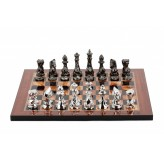 Dal Rossi Italy Chess Set with Diamond-Cut Titanium & Silver 85mm chessmen on a Walnut Shinny Finish Chess Board 16""