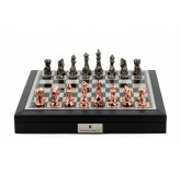 "Dal Rossi Italy Black PU Leather Bevelled Edge chess box with compartments 18"" with Diamond-Cut Copper & Bronze Finish Chessmen"