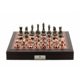 "Dal Rossi Italy Brown PU Leather Bevelled Edge chess box with compartments 18"" with Diamond-Cut Copper & Bronze Finish Chessmen"