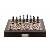 "Dal Rossi Italy Brown PU Leather Bevelled Edge chess box with compartments 18"" with Diamond-Cut Titanium & Silver Finish Chessmen"