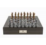 "Dal Rossi Italy Carbon Fibre Shiny Finish chess box with compartments 16"" with Medieval Pewter Chessmen"