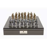 "Dal Rossi Italy Carbon Fibre Shiny Finish chess box with compartments 16"" with Dragon Pewter Chessmen"