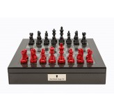 "Dal Rossi Italy Carbon Fibre Shiny Finish chess box with compartments 16"" With French Lardy Black/Red 85mm Chessmen"