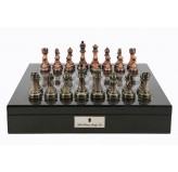 "Dal Rossi Italy Carbon Fibre Finish chess box with compartments 16"" With Antique Chessmen"