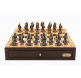 "Dal Rossi Italy Walnut Finish chess box with compartments 18"" with Dragon Pewter Chessmen"