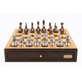 "Dal Rossi Italy Walnut Finish chess box with compartments 18"" with Staunton Metal/Marble Finish Chessmen"