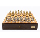"Dal Rossi Italy Walnut Finish chess box with compartments 18"" with Medieval Warriors Resin Chessmen"