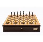 "Dal Rossi Italy Walnut Finish chess box with compartments 18"" with Sleek Design Brass Chessmen"