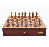 "Dal Rossi Italy Red Mahogany Finish chess box with compartments 18"" with Medieval Pewter GA Chessmen"