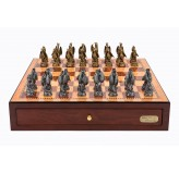 "Dal Rossi Italy Red Mahogany Finish chess box with compartments 18"" with Dragon Pewter Chessmen"