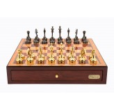 "Dal Rossi Italy Red Mahogany Finish chess box with compartments 18"" with Staunton Brass Titanium Cap Chessmen"