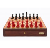 "Dal Rossi Italy Red Mahogany Finish chess box with compartments 18"" with French Lardy Black/Red 85mm Chessmen"