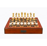 "Dal Rossi Italy White Stone and Gold Chessmen 100mm Chess Set on Walnut Shiny Finish Chess Box 20"" with compartments"