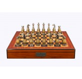 "Dal Rossi Italy, Metal light gold plated Chessmen 100mmon a 20"" Walnut Finish Board with Compartments"