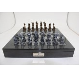 "Dal Rossi Italy Mad Max Robot Chess Set on a Carbon Fibre Shiny Finish Chess Box 20"" with compartments"