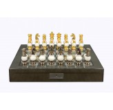 "Dal Rossi Italy Chess Set on a 20"" Board & Box with White Stone and  Gold , Silver Chessmen"