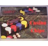 Casino Chips &Accessories - Casino chips, plastic rack & handle, 120pc