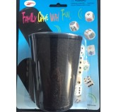 Dice Cup, leather look with 5 dice
