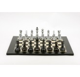 Dal Rossi Italy Chess Set, 50cm Board With Silver and Titanium Black Weighted Chess Pieces (101mm)