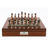 "Dal Rossi Italy Walnut Finish chess box with lock & compartments 16"" with Antique Chessmen"