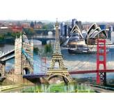 1000pc Play NOW! Jigsaw Puzzle - Prague, Tower Bridge, Eiffel Tower, Sydney & San Francisco