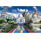 1000pc Play NOW! Jigsaw Puzzle - Pisa, Taj Mahal, Moscow. Neuschwanstein, The White House